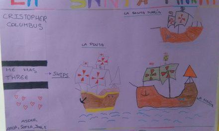 día de la hispanidad trabajos con pinturas los alumnos de 4º de primaria