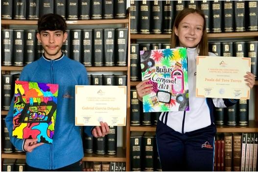 Especial Carnaval 2020: Los alumnos, Gabriel García y Paula del Toro, ganadores de la 1ª Edición del «Concurso del Cartel del Carnaval-Colegio Virgen del Mar»