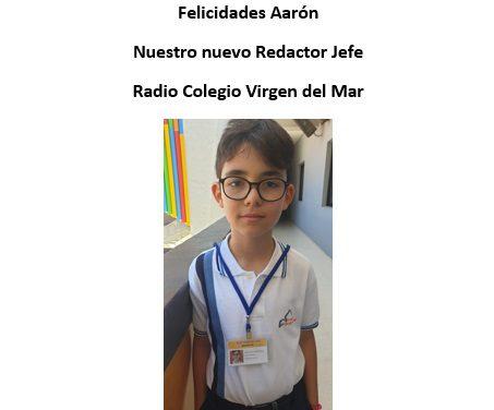 Aarón de Armas, alumno de 4º de Primaria, nuestro joven Redactor Jefe de Radio Colegio Virgen del Mar