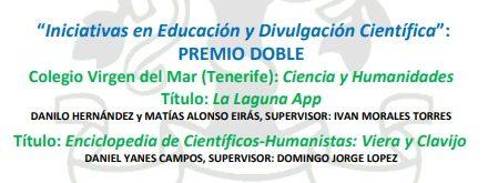 El Colegio Virgen del Mar recibirá el Premio CSIC-CANARIAS por dos trabajos de investigación en la categoría «Iniciativas en Educación y Divulgación Científica»